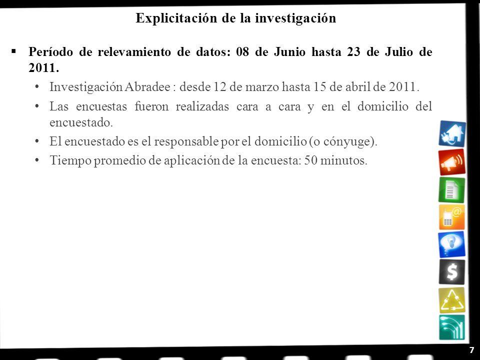 Período de relevamiento de datos: 08 de Junio hasta 23 de Julio de 2011. Investigación Abradee : desde 12 de marzo hasta 15 de abril de 2011. Las encu