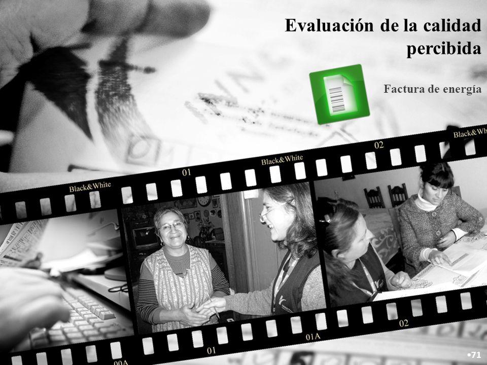 Evaluación de la calidad percibida Factura de energía 71