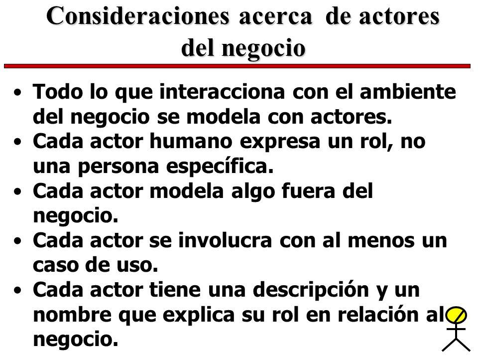 Consideraciones acerca de actores del negocio Todo lo que interacciona con el ambiente del negocio se modela con actores. Cada actor humano expresa un