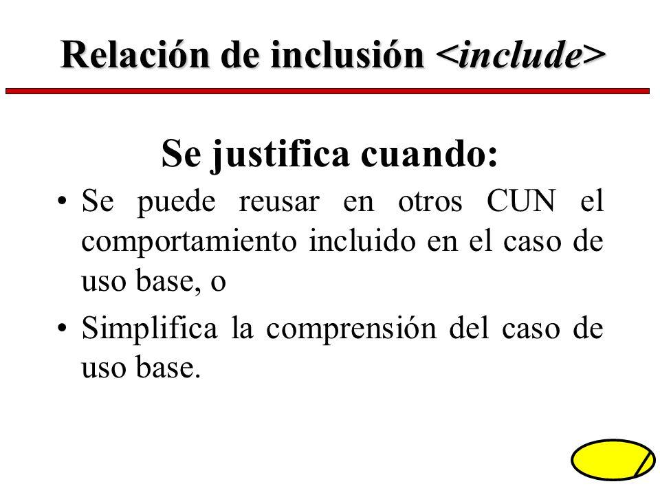 Se justifica cuando: Se puede reusar en otros CUN el comportamiento incluido en el caso de uso base, o Simplifica la comprensión del caso de uso base.