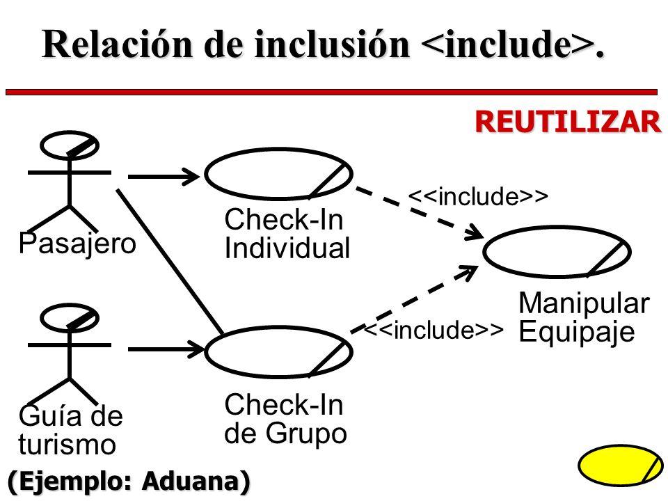 Check-In Individual Check-In de Grupo > Manipular Equipaje Pasajero Guía de turismo REUTILIZAR Relación de inclusión. (Ejemplo: Aduana)