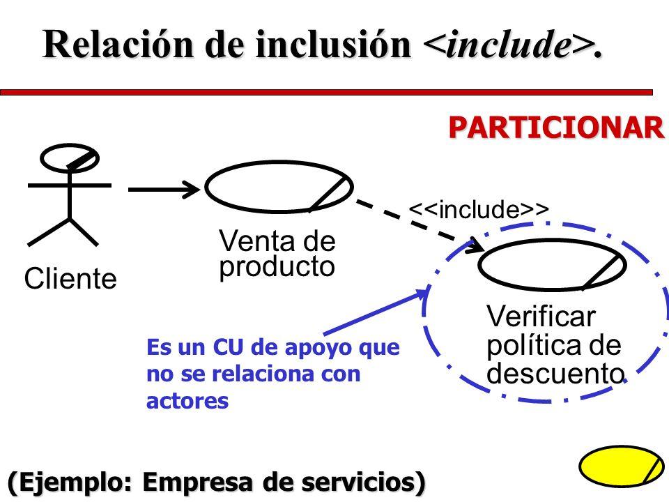 Venta de producto > Verificar política de descuento Cliente PARTICIONAR Es un CU de apoyo que no se relaciona con actores Relación de inclusión. (Ejem