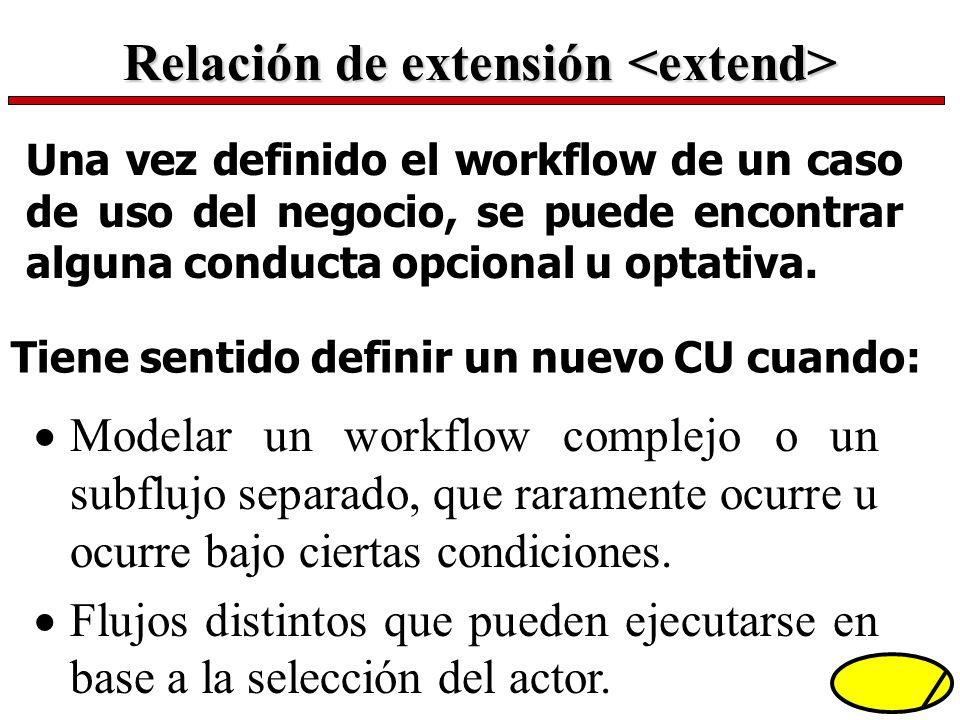 Relación de extensión Relación de extensión Una vez definido el workflow de un caso de uso del negocio, se puede encontrar alguna conducta opcional u