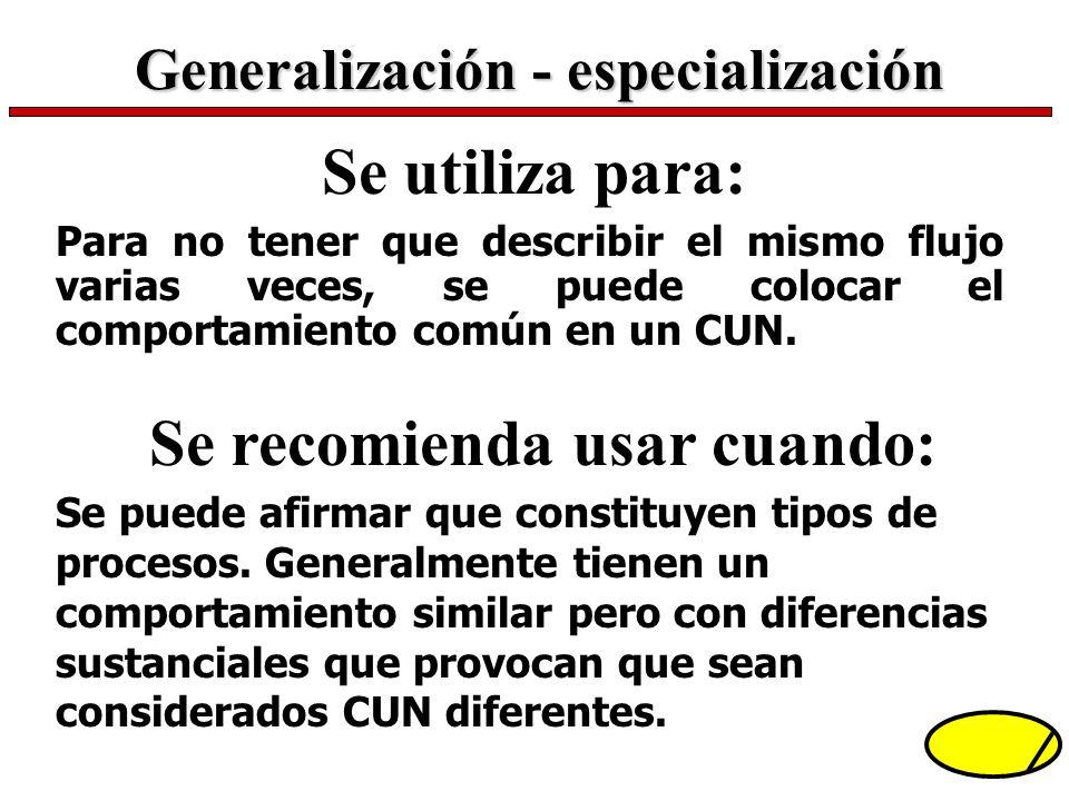 Se utiliza para: Para no tener que describir el mismo flujo varias veces, se puede colocar el comportamiento común en un CUN. Generalización - especia