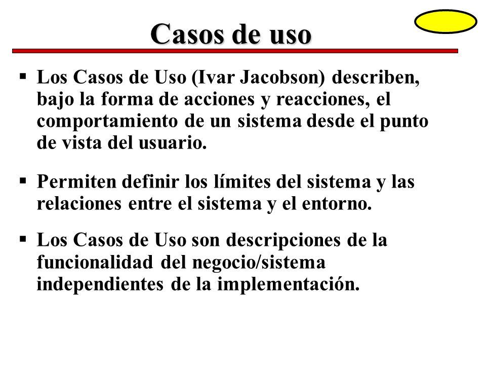 Los Casos de Uso (Ivar Jacobson) describen, bajo la forma de acciones y reacciones, el comportamiento de un sistema desde el punto de vista del usuari