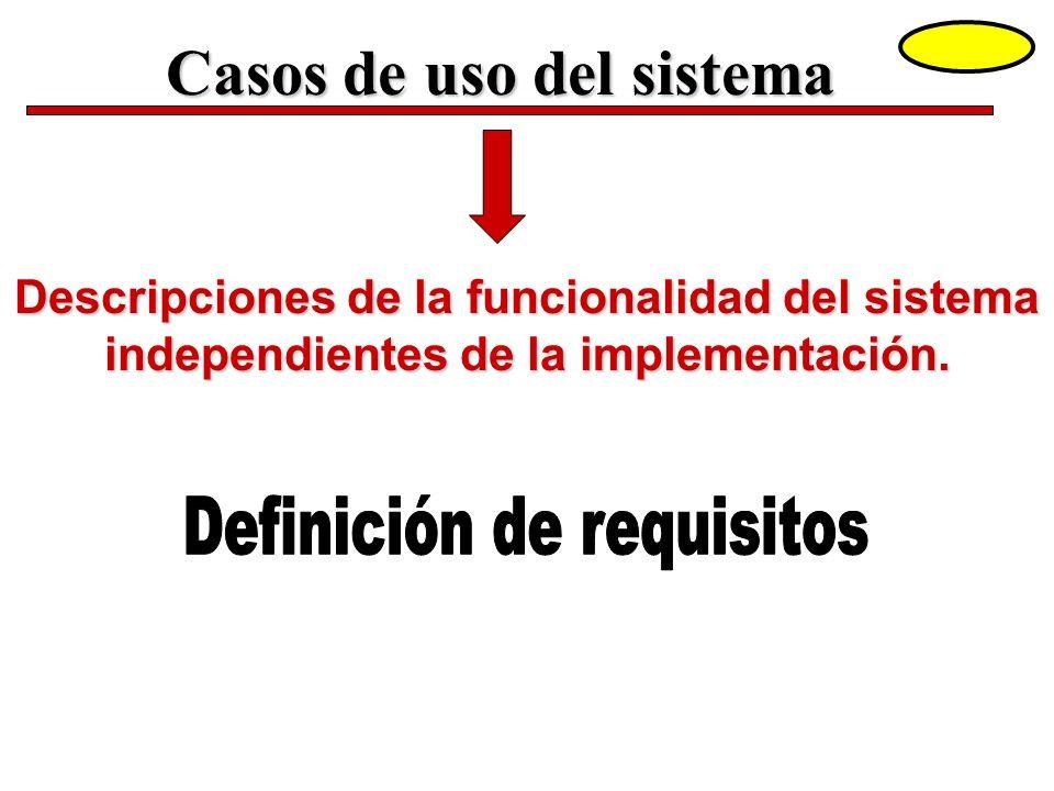 Casos de uso del sistema Descripciones de la funcionalidad del sistema independientes de la implementación.