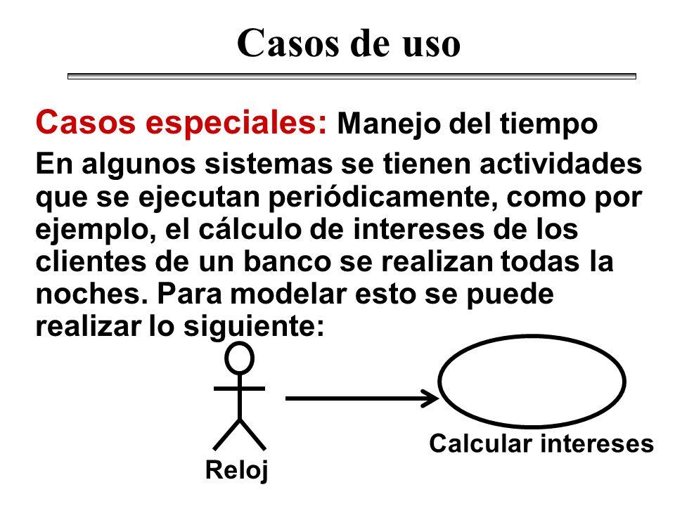 Casos especiales: Manejo del tiempo En algunos sistemas se tienen actividades que se ejecutan periódicamente, como por ejemplo, el cálculo de interese