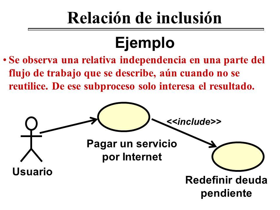 Ejemplo Relación de inclusión Se observa una relativa independencia en una parte del flujo de trabajo que se describe, aún cuando no se reutilice. De