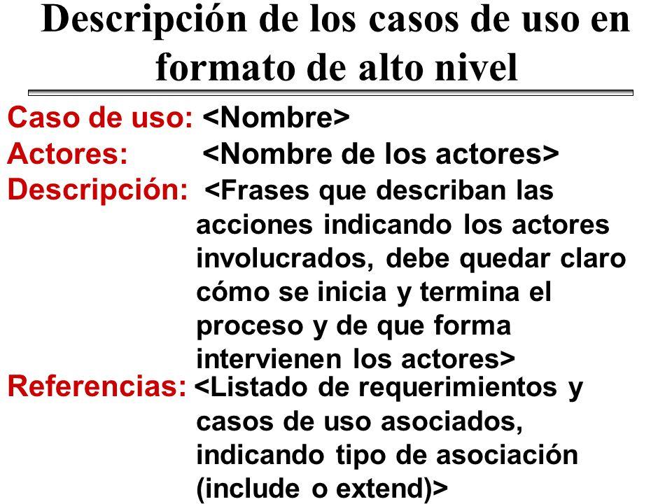 Descripción de los casos de uso en formato de alto nivel Caso de uso: Actores: Descripción: Referencias: