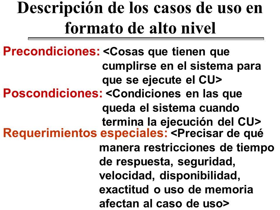 Descripción de los casos de uso en formato de alto nivel Precondiciones: Poscondiciones: Requerimientos especiales: