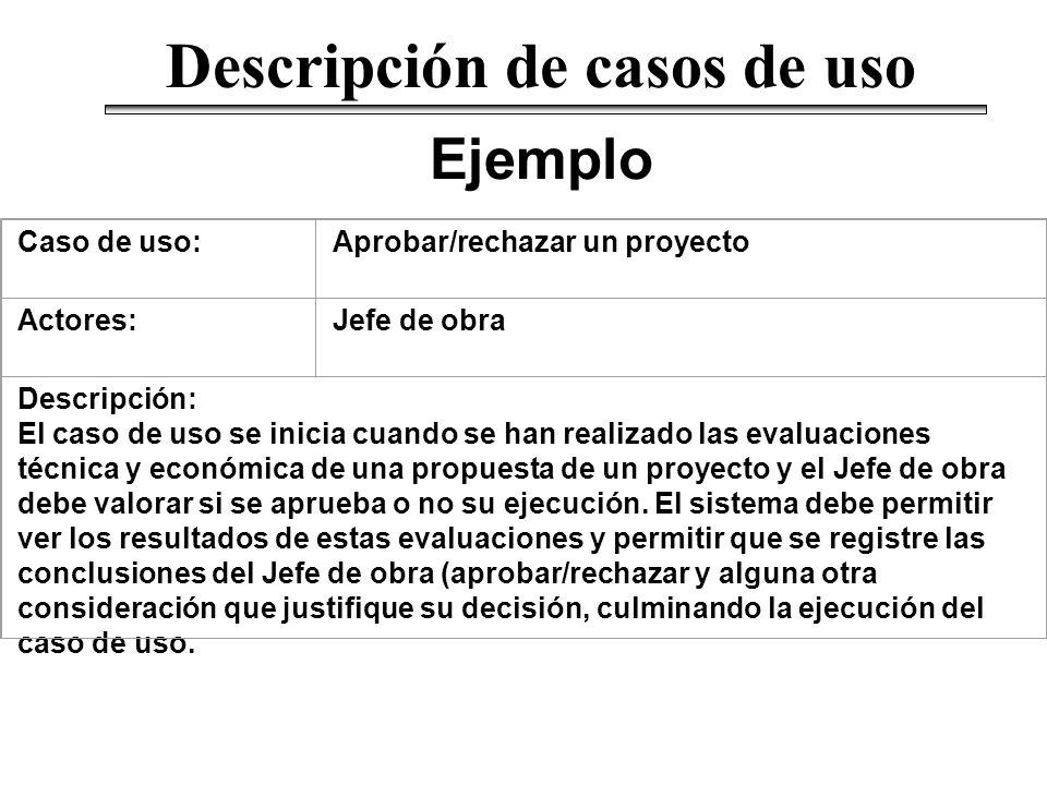 Ejemplo Descripción de casos de uso Caso de uso:Aprobar/rechazar un proyecto Actores:Jefe de obra Descripción: El caso de uso se inicia cuando se han