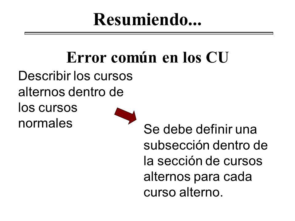Describir los cursos alternos dentro de los cursos normales Error común en los CU Se debe definir una subsección dentro de la sección de cursos altern