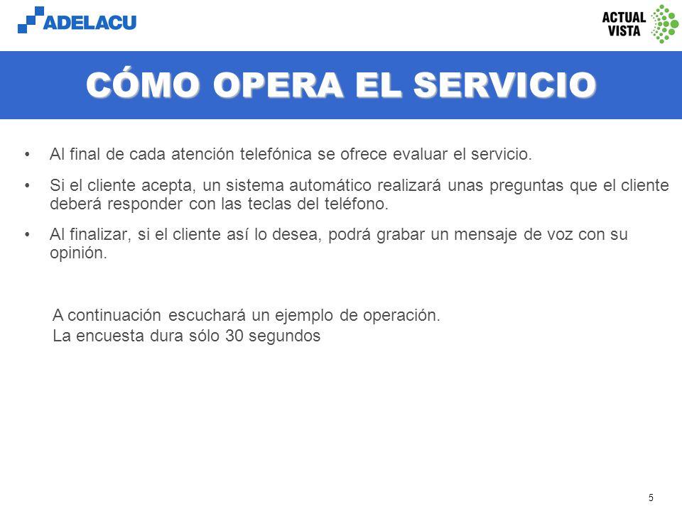 www.adelacu.com 5 CÓMO OPERA EL SERVICIO Al final de cada atención telefónica se ofrece evaluar el servicio.