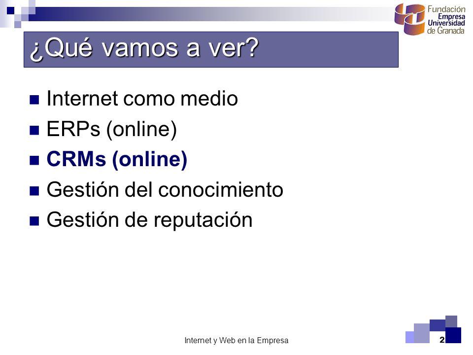 Internet y Web en la Empresa2 Internet como medio ERPs (online) CRMs (online) Gestión del conocimiento Gestión de reputación ¿Qué vamos a ver?