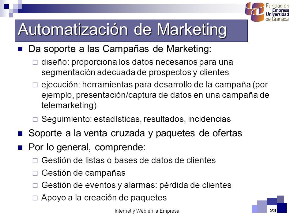 Internet y Web en la Empresa23 Da soporte a las Campañas de Marketing: diseño: proporciona los datos necesarios para una segmentación adecuada de pros
