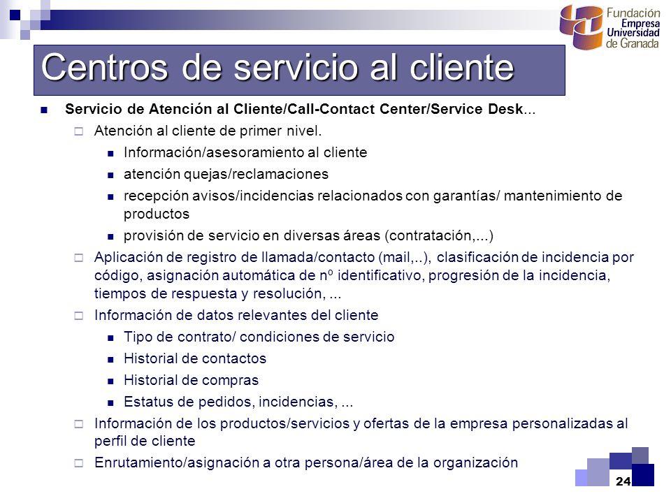24 Servicio de Atención al Cliente/Call-Contact Center/Service Desk... Atención al cliente de primer nivel. Información/asesoramiento al cliente atenc