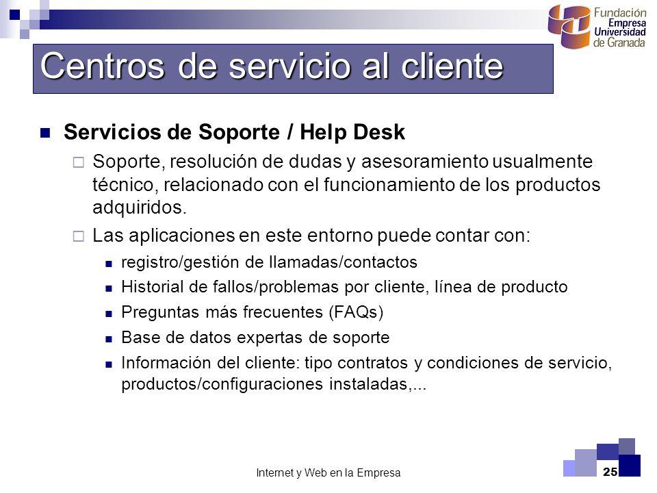 Internet y Web en la Empresa25 Servicios de Soporte / Help Desk Soporte, resolución de dudas y asesoramiento usualmente técnico, relacionado con el fu