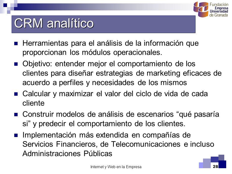 Internet y Web en la Empresa28 Herramientas para el análisis de la información que proporcionan los módulos operacionales. Objetivo: entender mejor el