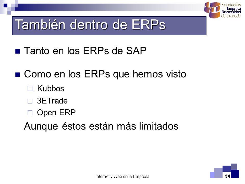Internet y Web en la Empresa34 Tanto en los ERPs de SAP Como en los ERPs que hemos visto Kubbos 3ETrade Open ERP Aunque éstos están más limitados Tamb