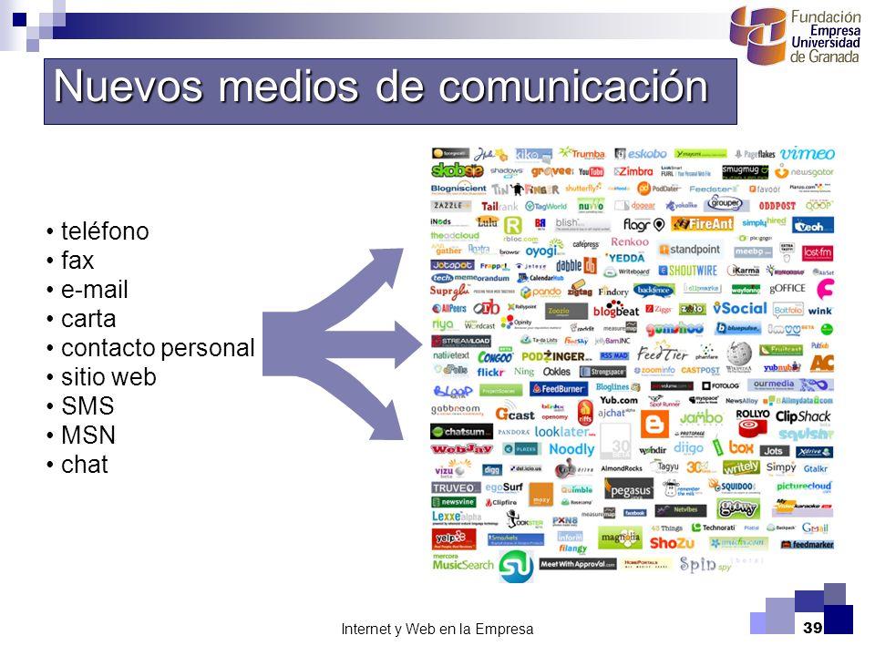 Internet y Web en la Empresa39 Nuevos medios de comunicación teléfono fax e-mail carta contacto personal sitio web SMS MSN chat