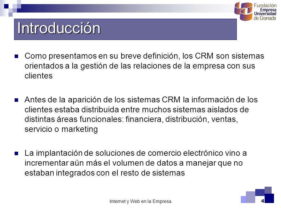 4 Como presentamos en su breve definición, los CRM son sistemas orientados a la gestión de las relaciones de la empresa con sus clientes Antes de la a