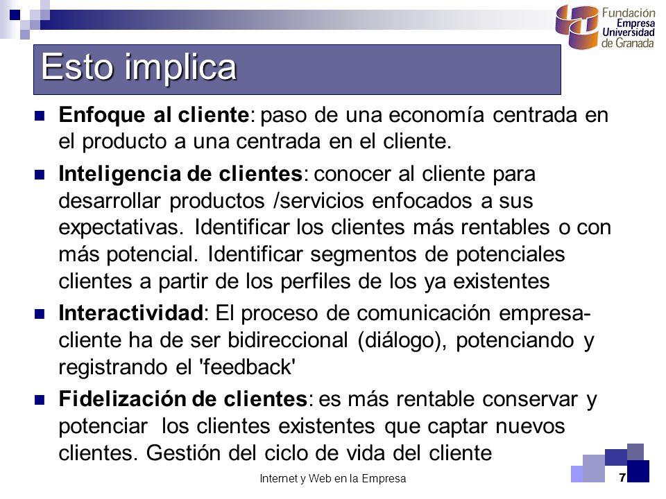 Internet y Web en la Empresa7 Enfoque al cliente: paso de una economía centrada en el producto a una centrada en el cliente. Inteligencia de clientes: