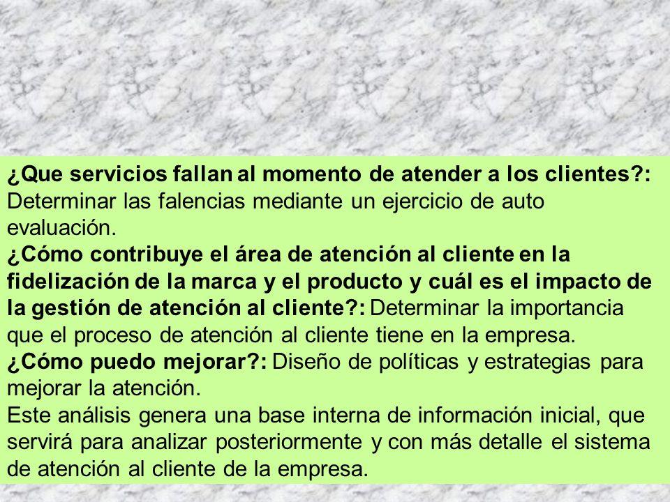 ¿Que servicios fallan al momento de atender a los clientes?: Determinar las falencias mediante un ejercicio de auto evaluación.
