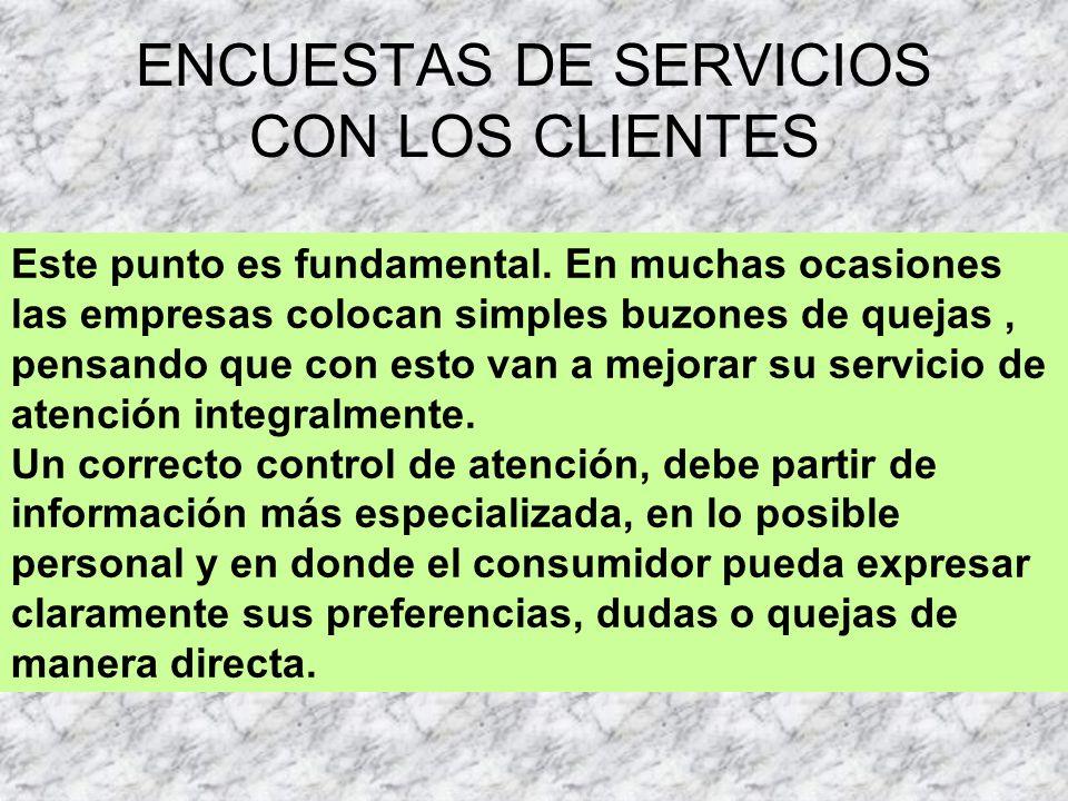 ENCUESTAS DE SERVICIOS CON LOS CLIENTES Este punto es fundamental.