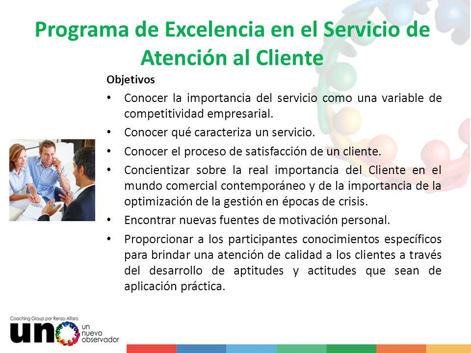 Programa de Excelencia en el Servicio de Atención al Cliente Objetivos Conocer la importancia del servicio como una variable de competitividad empresa