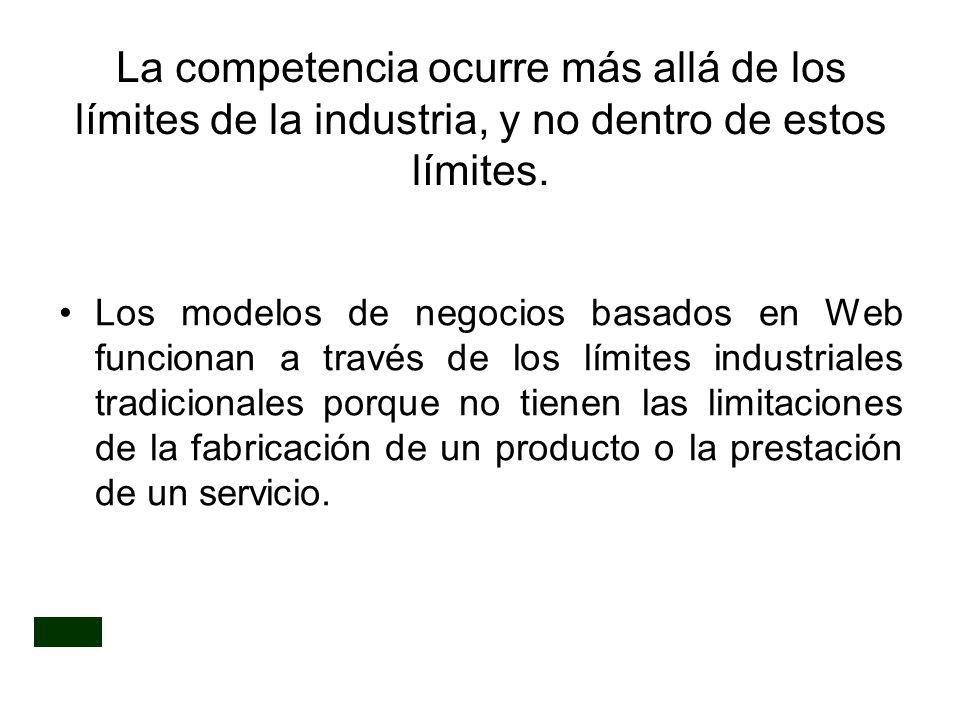 La competencia ocurre más allá de los límites de la industria, y no dentro de estos límites. Los modelos de negocios basados en Web funcionan a través