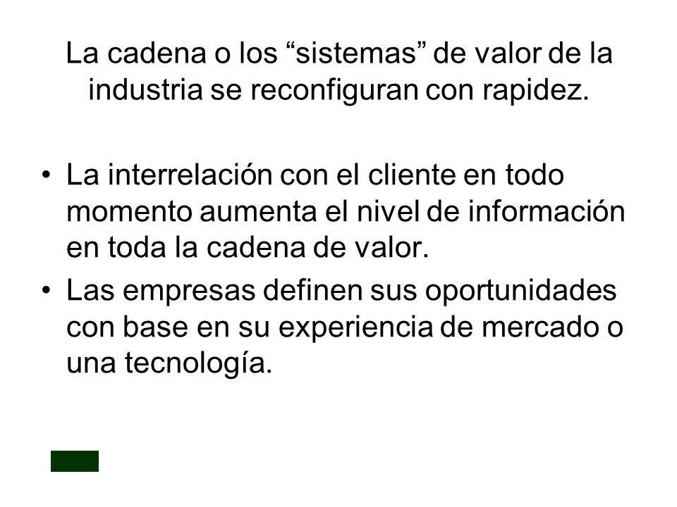 La cadena o los sistemas de valor de la industria se reconfiguran con rapidez. La interrelación con el cliente en todo momento aumenta el nivel de inf