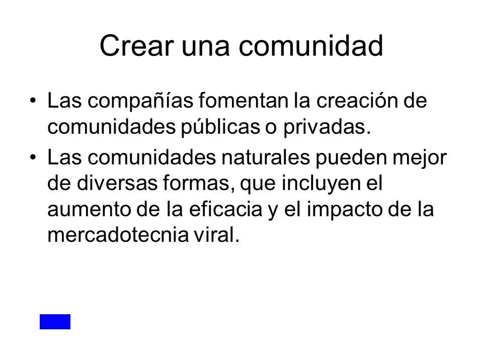 Crear una comunidad Las compañías fomentan la creación de comunidades públicas o privadas. Las comunidades naturales pueden mejor de diversas formas,