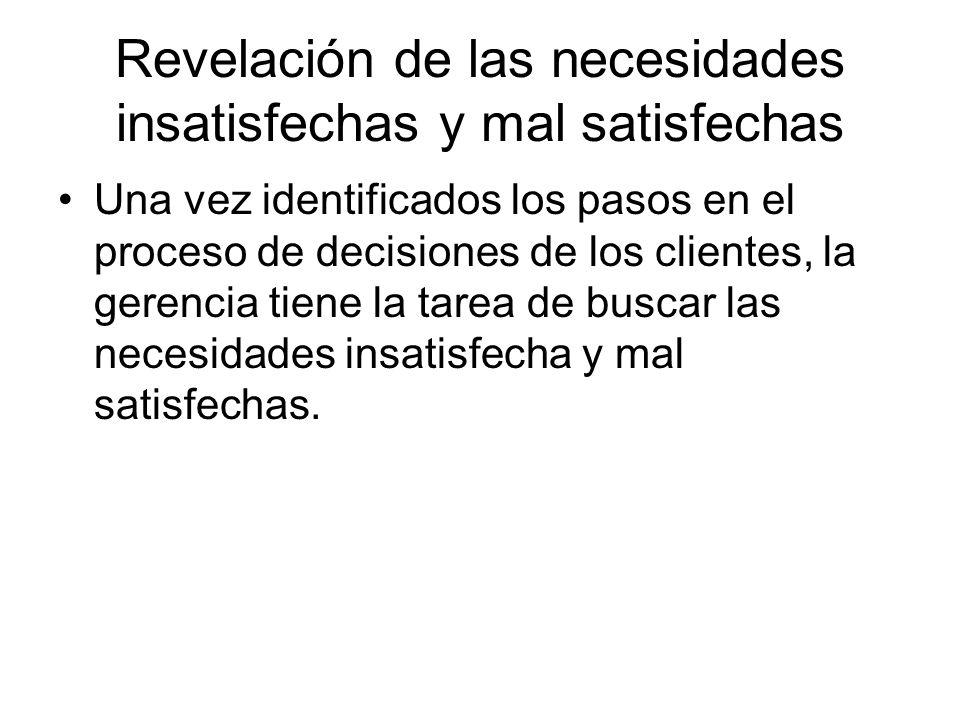 Revelación de las necesidades insatisfechas y mal satisfechas Una vez identificados los pasos en el proceso de decisiones de los clientes, la gerencia