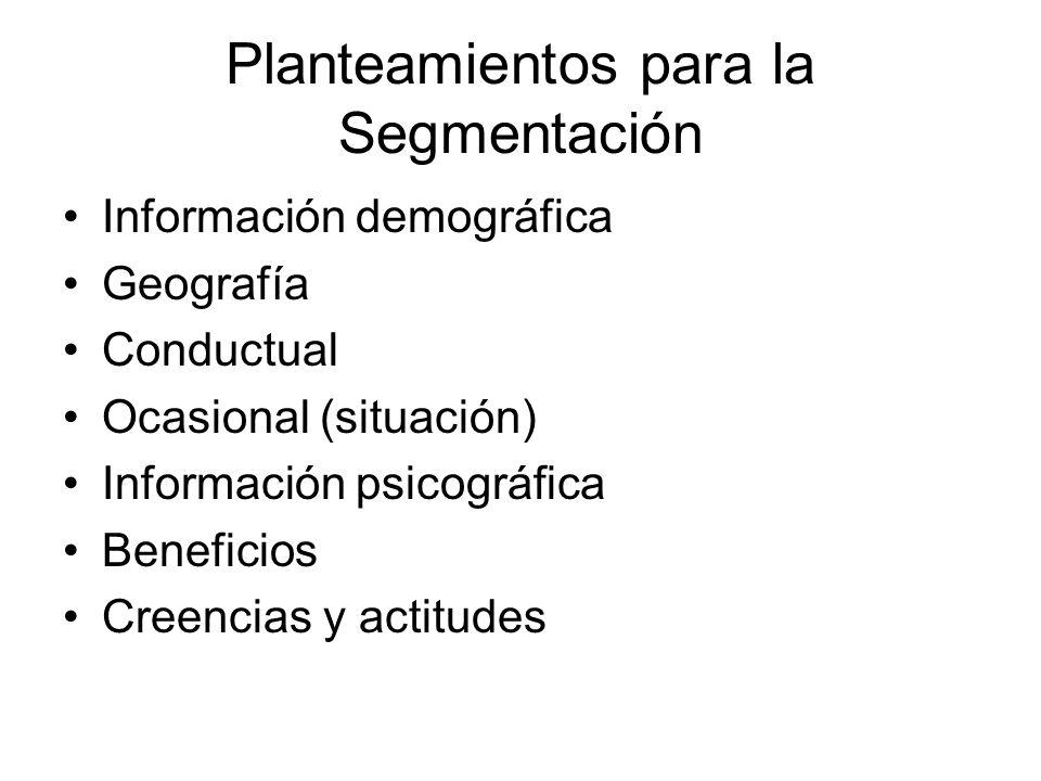 Planteamientos para la Segmentación Información demográfica Geografía Conductual Ocasional (situación) Información psicográfica Beneficios Creencias y