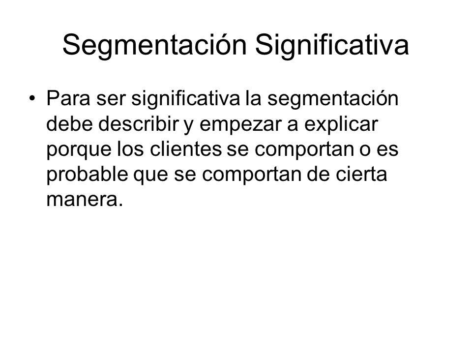 Segmentación Significativa Para ser significativa la segmentación debe describir y empezar a explicar porque los clientes se comportan o es probable q