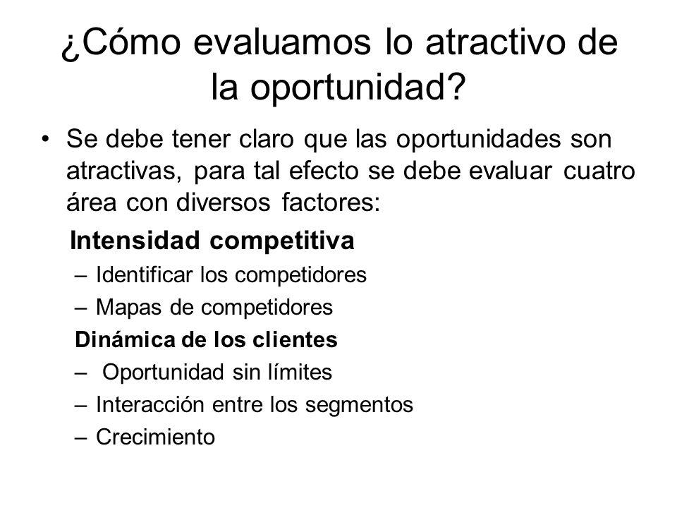 ¿Cómo evaluamos lo atractivo de la oportunidad? Se debe tener claro que las oportunidades son atractivas, para tal efecto se debe evaluar cuatro área