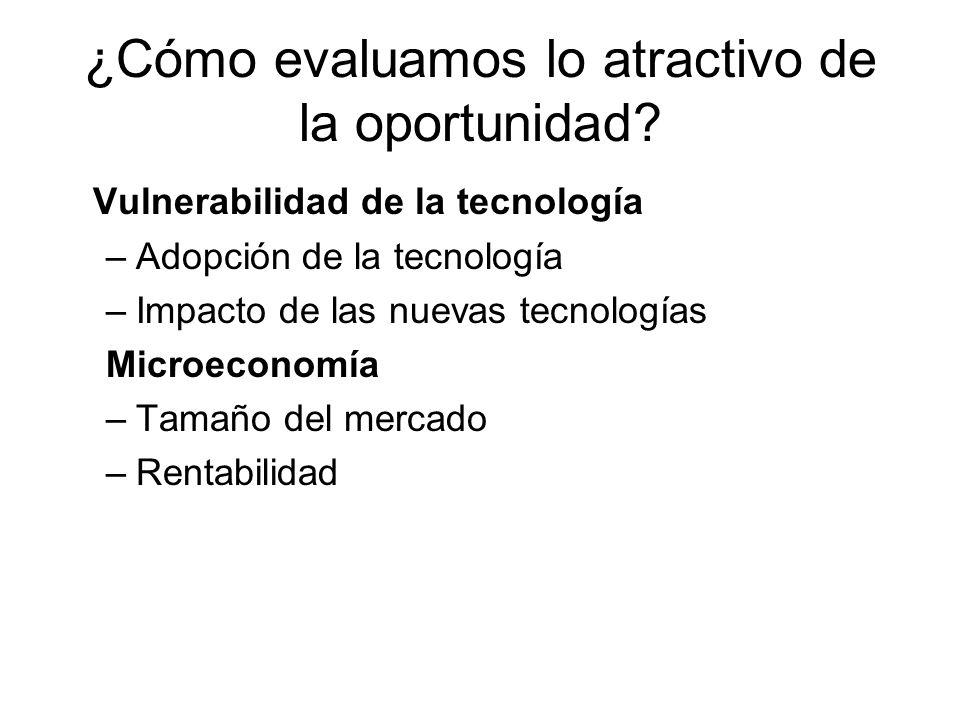 ¿Cómo evaluamos lo atractivo de la oportunidad? Vulnerabilidad de la tecnología –Adopción de la tecnología –Impacto de las nuevas tecnologías Microeco