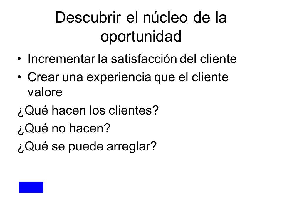 Descubrir el núcleo de la oportunidad Incrementar la satisfacción del cliente Crear una experiencia que el cliente valore ¿Qué hacen los clientes? ¿Qu