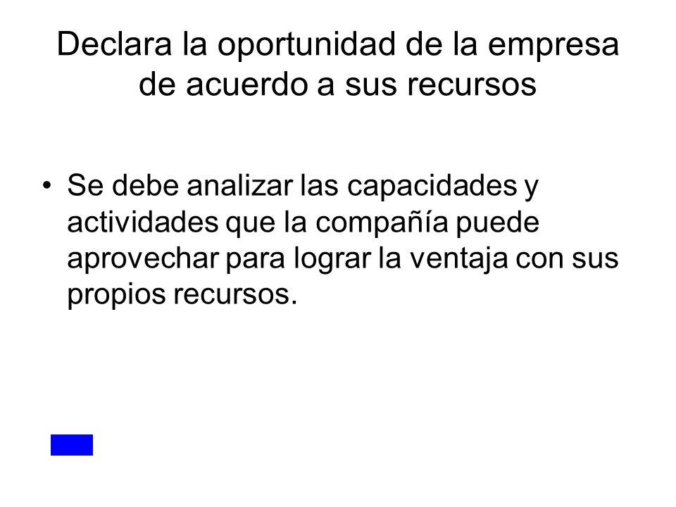 Declara la oportunidad de la empresa de acuerdo a sus recursos Se debe analizar las capacidades y actividades que la compañía puede aprovechar para lo
