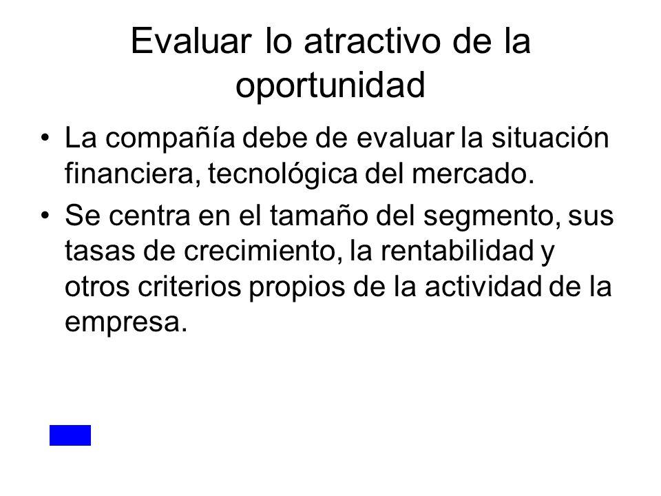 Evaluar lo atractivo de la oportunidad La compañía debe de evaluar la situación financiera, tecnológica del mercado. Se centra en el tamaño del segmen