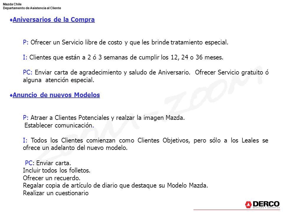Mazda Chile Departamento de Asistencia al Cliente Aniversarios de la Compra P: Ofrecer un Servicio libre de costo y que les brinde tratamiento especia