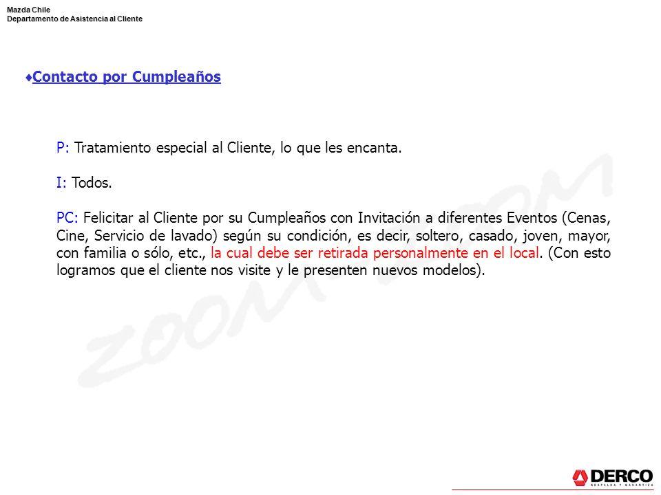 Mazda Chile Departamento de Asistencia al Cliente Contacto por Cumpleaños P: Tratamiento especial al Cliente, lo que les encanta. I: Todos. PC: Felici