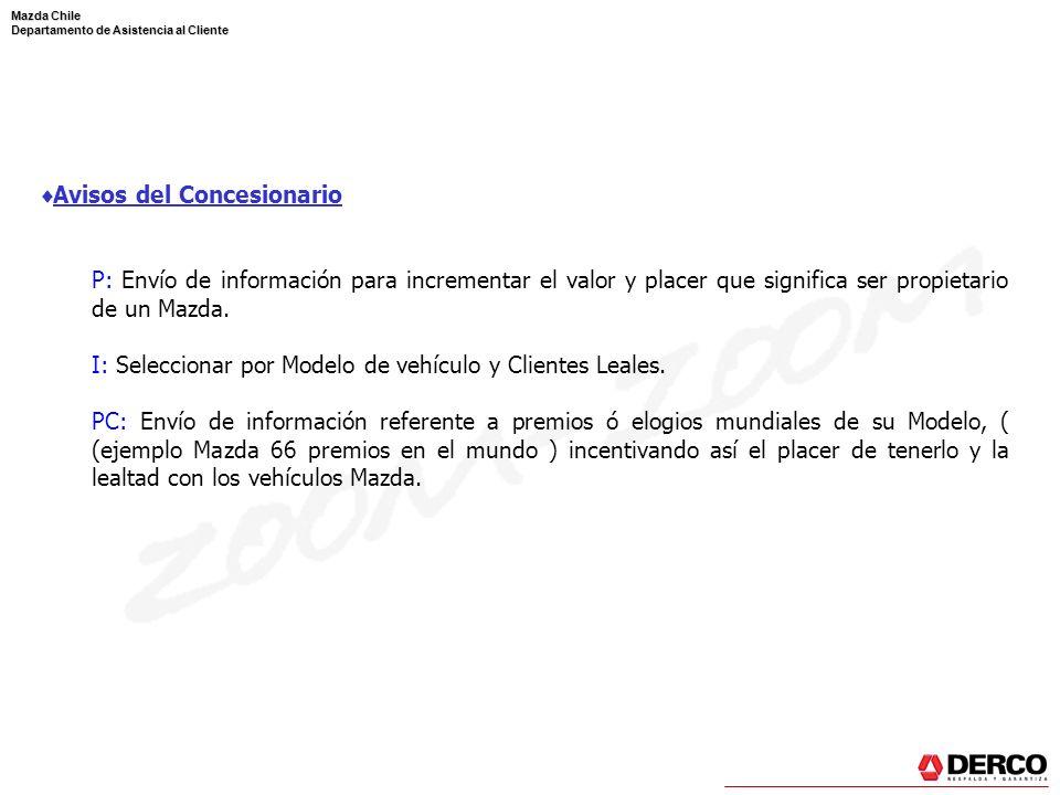 Mazda Chile Departamento de Asistencia al Cliente Avisos del Concesionario P: Envío de información para incrementar el valor y placer que significa se