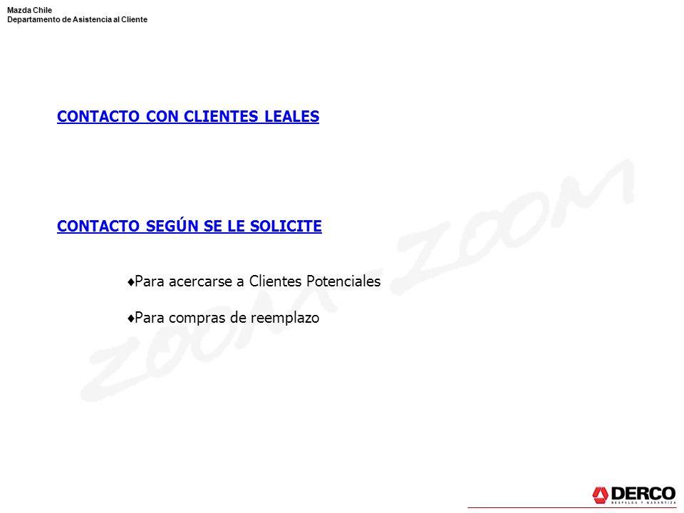 Mazda Chile Departamento de Asistencia al Cliente CONTACTO CON CLIENTES LEALES CONTACTO SEGÚN SE LE SOLICITE Para acercarse a Clientes Potenciales Par