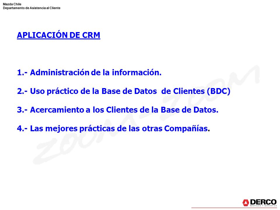 Mazda Chile Departamento de Asistencia al Cliente Saludo de Temporada P: Prevenir o resolver problemas de Temporada.