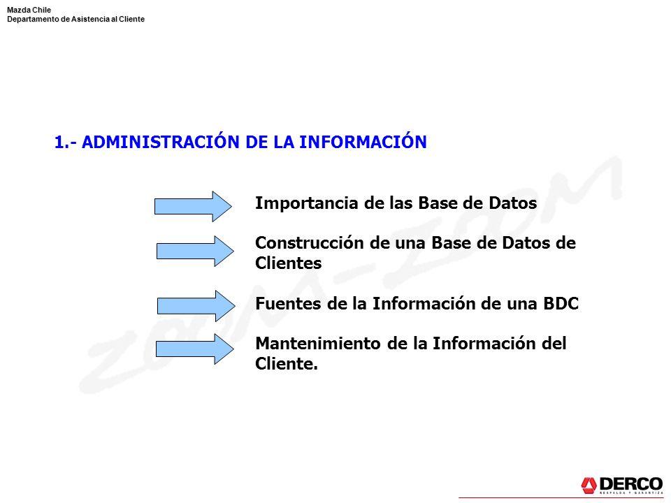 Mazda Chile Departamento de Asistencia al Cliente 1.- ADMINISTRACIÓN DE LA INFORMACIÓN Importancia de las Base de Datos Construcción de una Base de Da