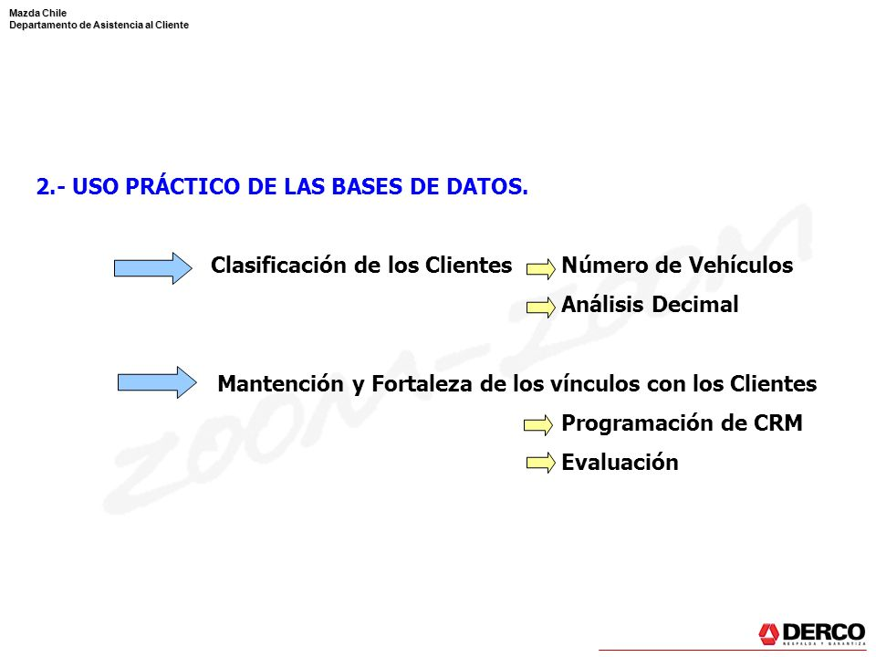 Mazda Chile Departamento de Asistencia al Cliente 2.- USO PRÁCTICO DE LAS BASES DE DATOS. Clasificación de los ClientesNúmero de Vehículos Análisis De