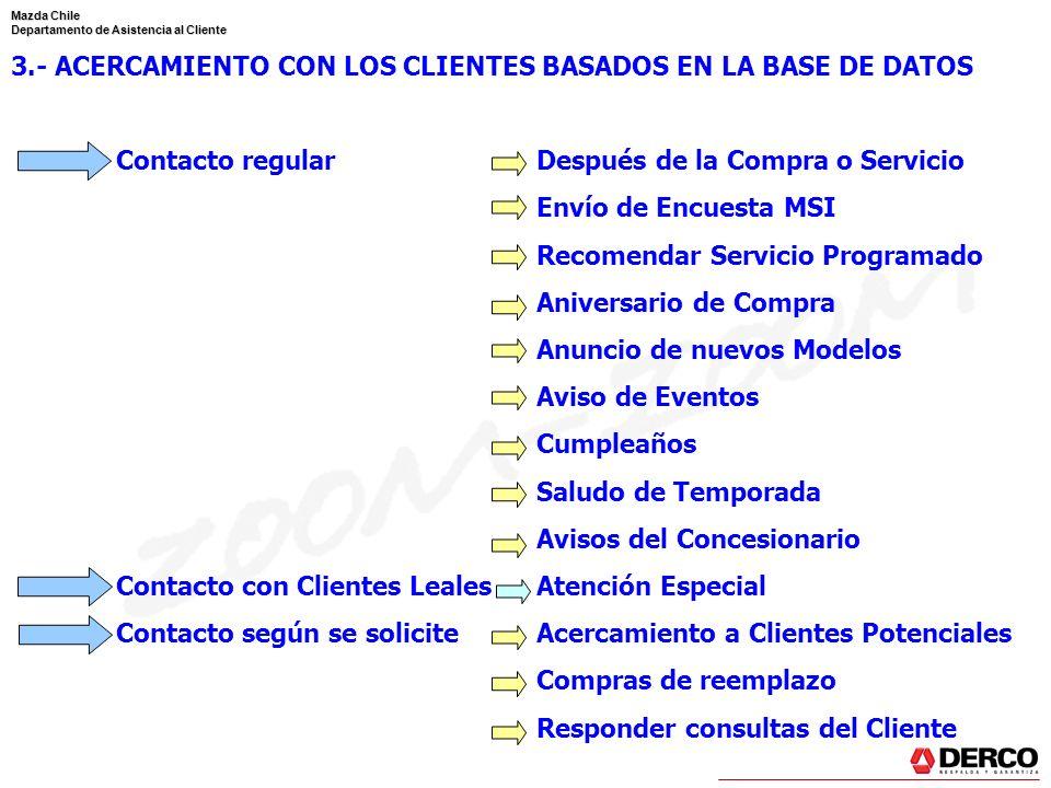 Mazda Chile Departamento de Asistencia al Cliente 3.- ACERCAMIENTO CON LOS CLIENTES BASADOS EN LA BASE DE DATOS Contacto regularDespués de la Compra o