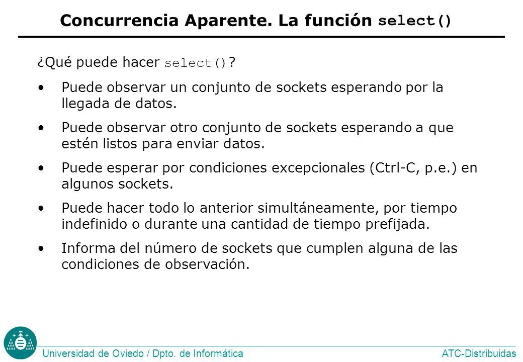 ATC-DistribuidasUniversidad de Oviedo / Dpto.de Informática ¿Qué puede hacer select() .
