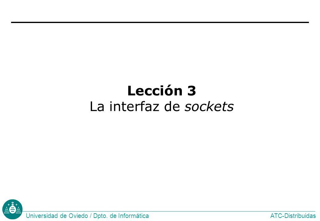 ATC-DistribuidasUniversidad de Oviedo / Dpto. de Informática Lección 3 La interfaz de sockets